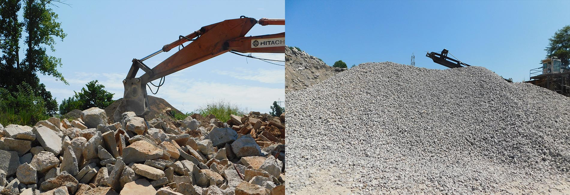 before and after of concrete destruction
